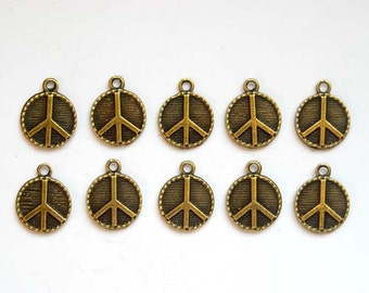 10 Antique Bronze Peace Symbol Charms - 21-57-4