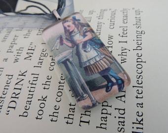 Alice In Wonderland DRINK ME Glass Oblong Tile Necklace (Grey)