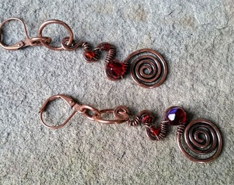 Rustic Copper Swirl Drop Earrings with Red Beads//Gifts for Her//Copper Dangle Earrings//Earrings//Hammered Metal Dangles//Boho Earrings