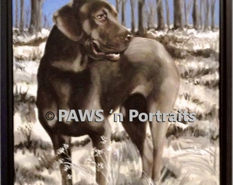 Chenille - Dog portrait - Original - framed - signed- FREE Shipping!