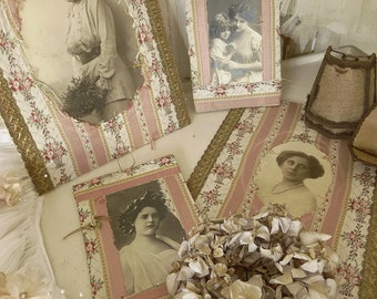 Four old and beautifully crafted images / photos / cabinet photos, french, boudoir...CHARMANT!