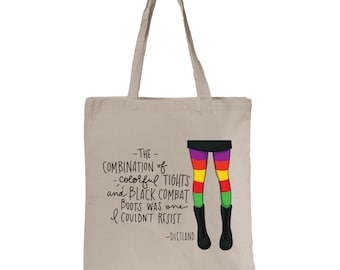 Dietland - Colorful Tights & Black Combat Boots - Quote - Tote Bag
