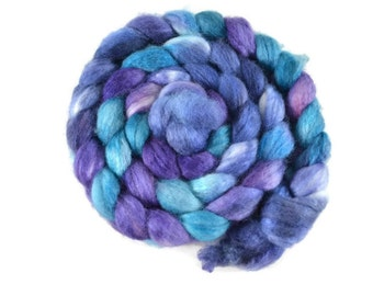 BFL Silk 4 oz hand dyed roving, Combed Top, Blue Faced Leicester spinning fiber, 75/25 BFL/Silk, aqua, blue, purple, bfl silk - Voyager