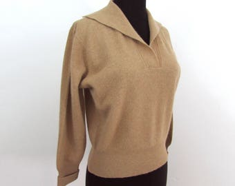 Miramink light brown pullover sweater - soft wool blend - S-M - 1950s