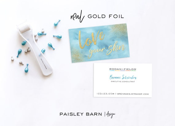 BUSINESS CARDS Watercolor Gold Foil | skincare, business, marketing, printed, skincare tool, personalized, direct sales, Rodan, Fields