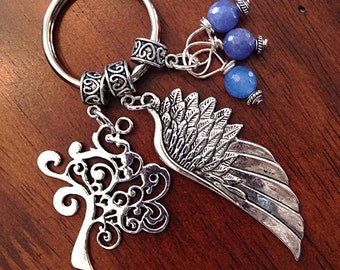 Christian Keychain, Keychain, Cowgirl Keychain, Tree of Life Keychain with an Angel Wing Pendant