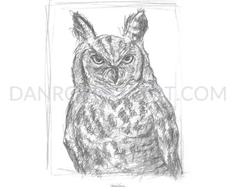 100 Animals, 100 Days: 15/100 The Great Horned Owl DIGITAL FILE
