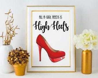 Red High Heel Instant Download / Wall Decor /Modern Wall Art /Calligraphy / Typography Print / Wall Print / Wall Art / Printable Art