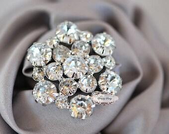 5 pcs RD138a Rhinestone Metal Flatback Embellishment Button Brooch Bridal Wedding accessories invitations crystal bouquet flowers hair clip