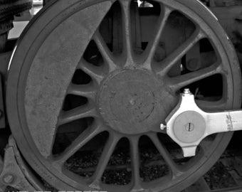 Locomotive Wheel, Black and White, Home Decor, Wall Art, Interior Design, Trains