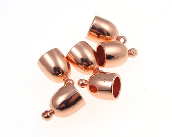 6 Copper End Caps 6mm Kumihimo Cord End Caps - Bright Copper Plated Kumihimo Suplies Cord Caps - Kumihimo Findings (KH42)