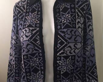 Vintage cardigan sweater jacquard snowflake metallic French Rags sz 2 classic