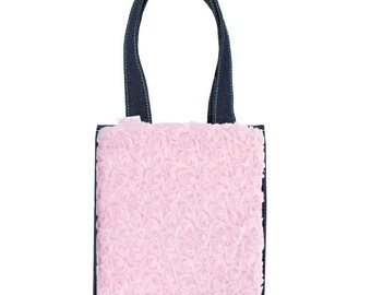 Tommie Tote with pink faux fur interchangeable panel