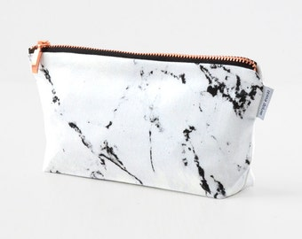 Makeup bag, white marble make up bag  pencil case  rose gold copper zipper black marble made by renna deluxe