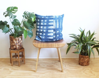 "Pieced Vintage Indigo Mudcloth, 20"" Square Pillow Cover, Tie Dye, African Mud Cloth, 20 inch throw pillow, Bohemian Decor"
