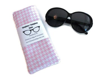 Sunglass or Eyeglass Case, Soft Padded  Sunglass or Eyeglass Holder, Fabric Pouch, Pink Houndstooth  Gift for Women