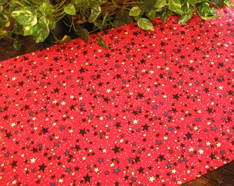 Patriotic Table Runner Stars on Red Padded