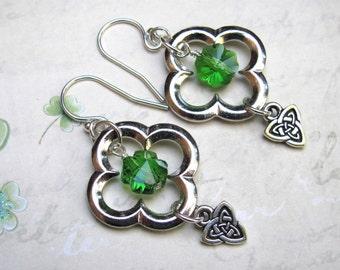 St Patricks Day Earrings, Green Earrings, Clover Earrings, Swarovski Earrings, Celtic Earrings, Irish Earrings, Holiday Earrings, Shamrock