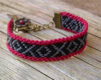 Dream catcher bracelet, Southwestern oxblood dreamcatcher jewelry, Native american indian black gray burgundy red fiber wrap, Ethnic tribe