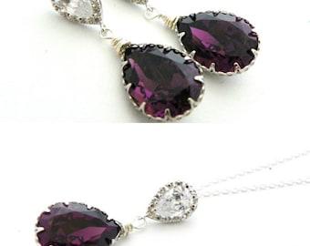 Swarovski Amethyst Jewelry Set, Amethyst Earring and Necklace Set, Wedding Earring, Bridal Teardrop Earring, Bridal Earring and Necklace Set