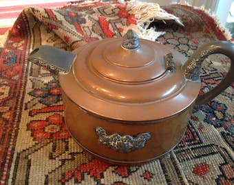 Antique copper and pewter teapot
