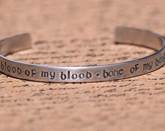 Blood of my Blood, Bone of my Bone - Scottish Gaelic Aluminum Bracelet Cuff - Hand Stamped