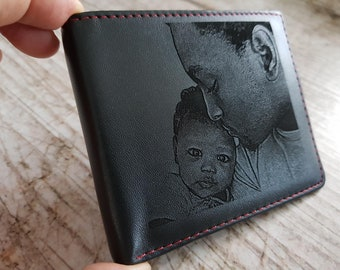 personalized engraved mens wallet, slim mens wallet, photo engraved personalized men wallets, mens gift, gift for mens
