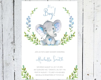 Baby Shower InvitationBoy, Elephant Baby Shower Invitation, It's A Boy, Wreath, Greenery, Blue, Grey, Printable, Printed