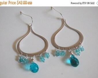 Mothersdaysale London blue quartz, Apatite Chandelier earrings