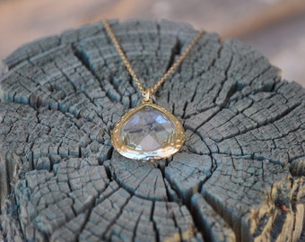 Clear Jewel Pendant Necklace - Gold - Costume Jewelry