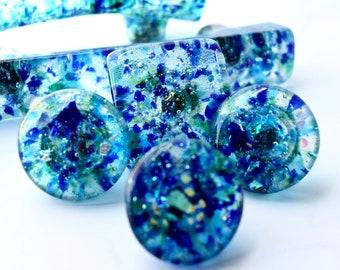 Glass Knobs, Glass Handles, Glass Pulls, handmade glass hardware for kitchen cabinet bathroom furniture dresser drawer blue green decorative