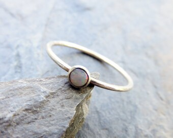 3mm Tiny Natural Opal Ring in Sterling Silver - Coober Pedy Australian Opal Stacking Ring in Smooth or Hammered Band - October Birthstone