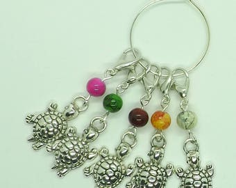 Set of Five Turtle Tortoise Coloured Beads Knitting Crochet Stitch Markers