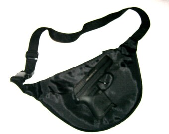 CCW Fanny Pack Concealed Carry Weapon Purse Black NO lint lining pockets 3 zip pockets web waist belt NEW condition Fanny Pack Purses Bags