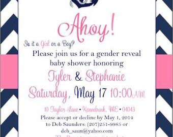 Nautical Gender Reveal Baby Shower Invitations