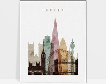 London watercolor print, London wall art print, London skyline, travel posters, travel decor, ArtPrintsVicky