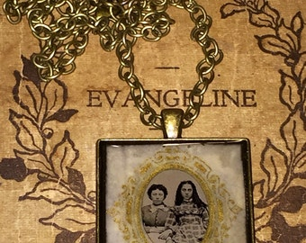 RESERVED Antique Victorian Gem Tin Type  Photo Pendant Necklace  2 Girls Sisters Original Paper Frame Oddities