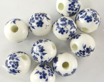 10 ceramic beads 10 mm Navy pc031 color flower pattern