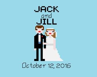 Custom Cross Stitch Pixel Bride and Groom Wedding Portrait Pattern