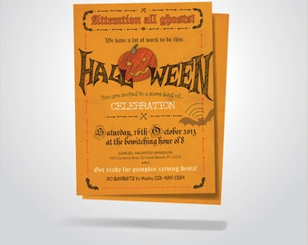 Halloween Printable Invitation / Pumpkin Carving Invitation / Printable / DIY Invitation Card