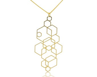 Geometric PendantNecklace, Long Geometric Necklace, Gold Geometric Pendant,Long Chain Necklace, Trendy Necklace, Gold Plated Jewelry