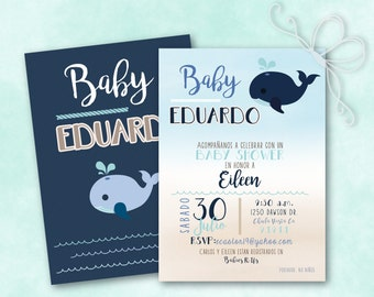 Maritime Baby Whale Baby Shower Invitation