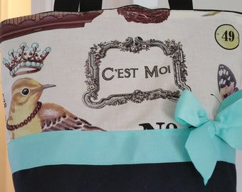 French Shabby Royal Bird Paris Butterfly Purse Tote BAG or Diaperbag
