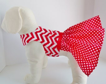 Cute dog dress, Valentine dog dress, polka dot skirt, chavron bodice, flared skirt, toole underlay, red dog dress,