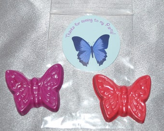 Butterfly Party Favor Crayons, Butterfly Party Favors, Butterfly Stickers, 40 Butterfly Crayons and 20 Butterfly Stickers.  Butterfly Favors