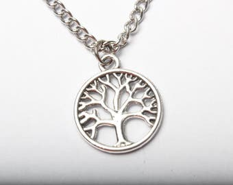 Tree of Life Necklace - Silver Tree Necklace - Tree Charm Necklace -  Cosmic Tree Necklace - Tree Life Jewelry