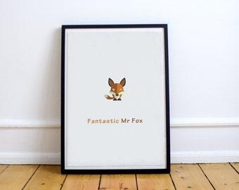 FREE SHIPPING** Fantastic Mr Fox - Custom Minimal Modern Art Movie Poster Print Abstract