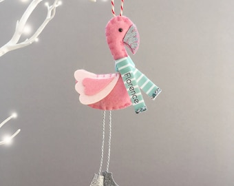 Flamingo Christmas Decoration - Flamingo decoration - Flamingo ornament - Flamingo Gift - Personalised Decoration
