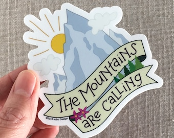 The Mountains Are Calling Vinyl Sticker / Rocky Mountains / Hand Lettered / Water Bottle Sticker / Cool Laptop Sticker / John Muir Quote