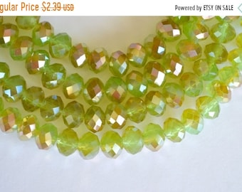 20% SALE Light Green, Half Coat Metallic Crystal Beads, Chinese Crystal, Faceted Crystal Rondelle Beads, Green, Bronze 8x10mm, 12 beads, Met